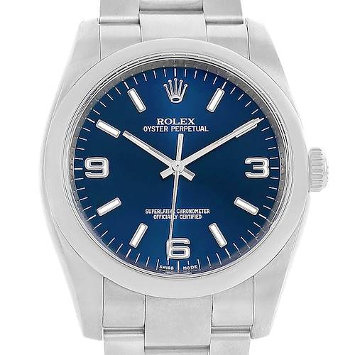 Photo of Rolex No-Date Blue Dial Domed Bezel Mens Watch 116000 Box Card
