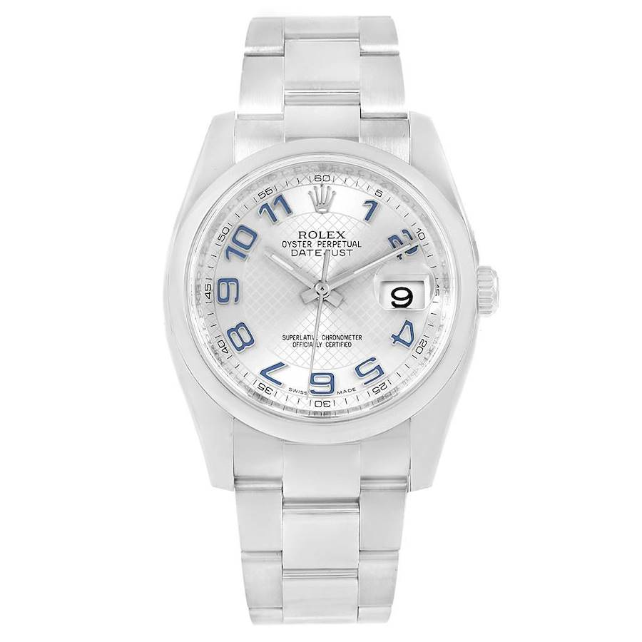 Rolex Datejust Silver Deco Dial Mens Watch 116200 Box Papers SwissWatchExpo