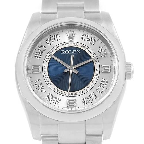 Photo of Rolex Oyster Perpetual Silver Blue Concentric Dial Steel Watch 116000