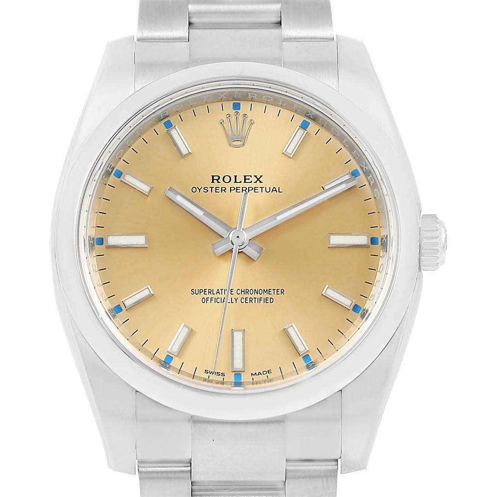 b1085516a013 ... 16080 Rolex Oyster Perpetual Champagne Dial Steel Unisex Watch 114200  SwissWatchExpo ...