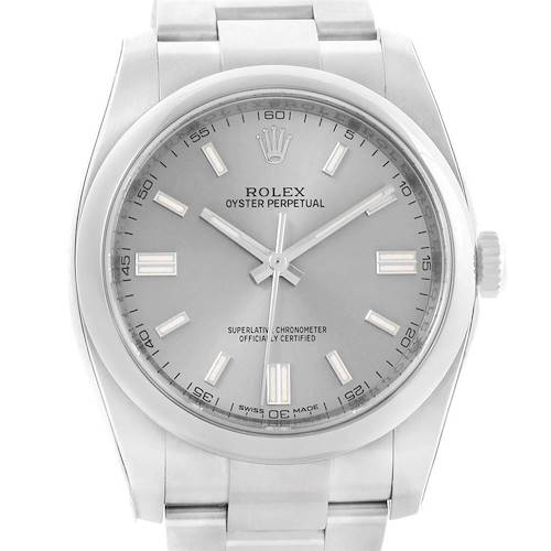 Photo of Rolex Oyster Perpetual Rhodium Dial Steel Mens Watch 116000 Unworn