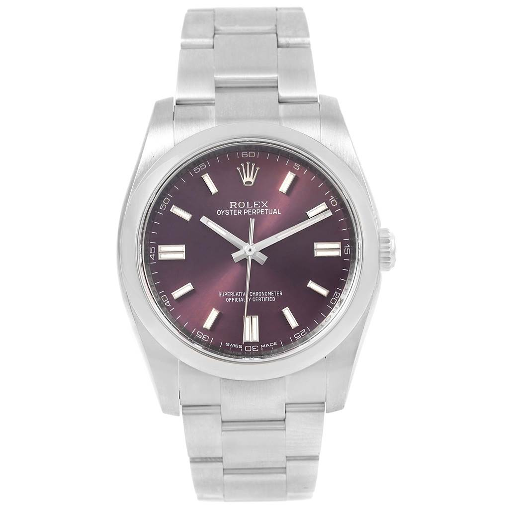 Rolex Oyster Perpetual 36 Red Grape Dial Unisex Watch 116000