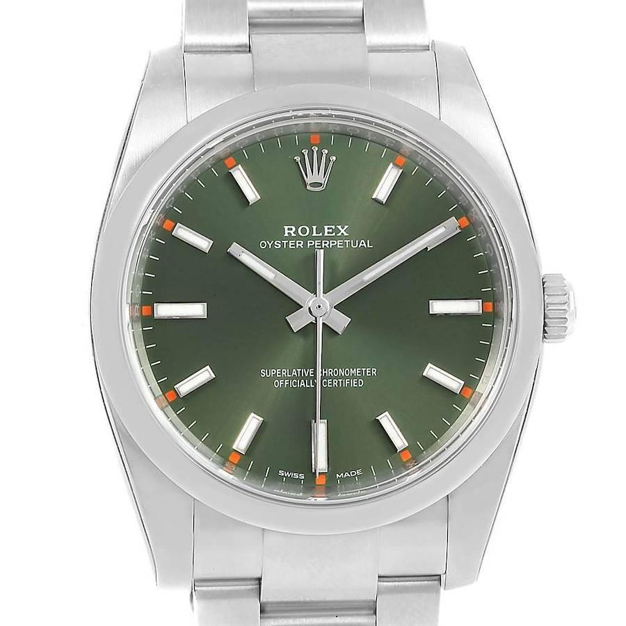 Rolex Air King 34mm Olive Green Dial Mens Watch 114200 Unworn SwissWatchExpo