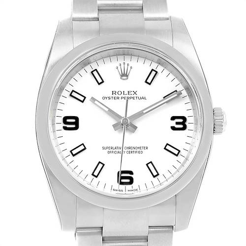 Photo of Rolex Oyster Perpetual White Dial Steel Mens Watch 114200 Box Card