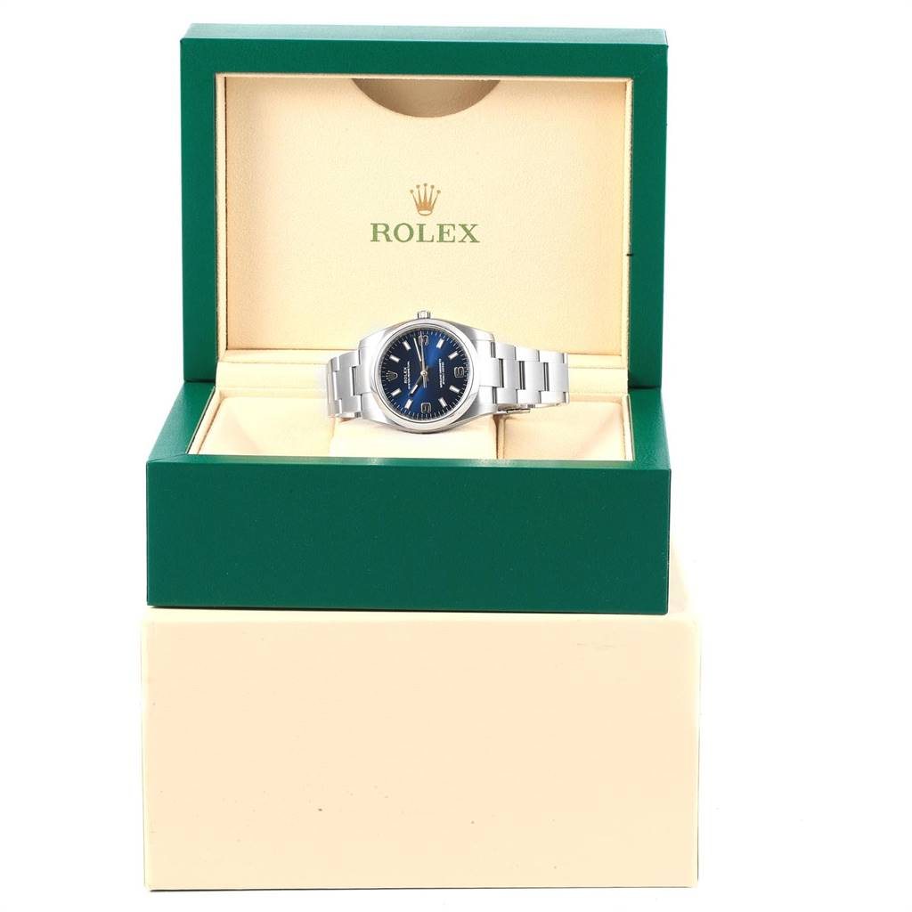 17629 Rolex Oyster Perpetual 34 Blue Dial Steel Mens Watch 114200 Unworn SwissWatchExpo