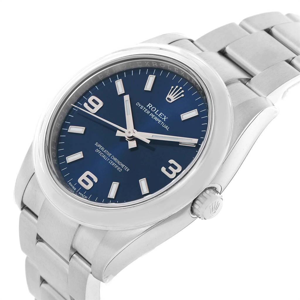 Rolex Oyster Perpetual 34 Blue Dial Steel Mens Watch 114200 Unworn SwissWatchExpo