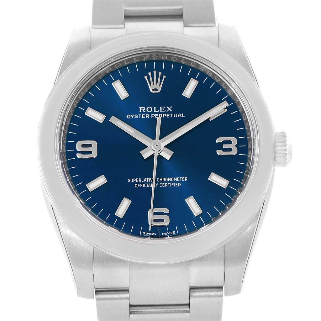 17629 Rolex Oyster Perpetual 34 Blue Dial Steel Mens Watch 114200 Unworn SwissWatchExpo