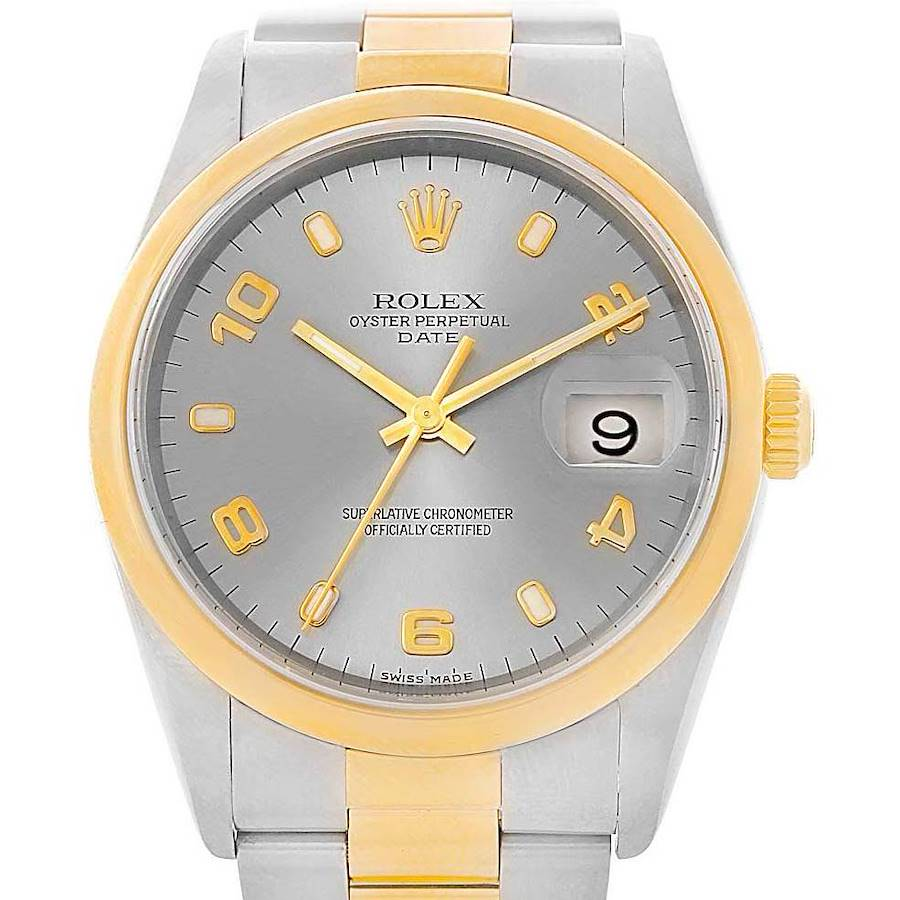 Rolex Date Mens Steel Yellow Gold Slate Dial Mens Watch 15203 Box Papers SwissWatchExpo
