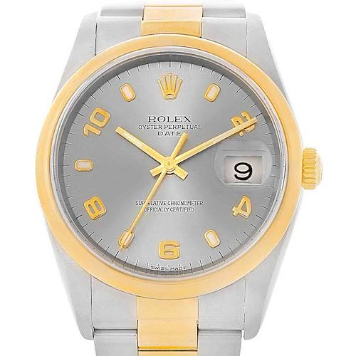 Photo of Rolex Date Mens Steel Yellow Gold Slate Dial Mens Watch 15203 Box Papers