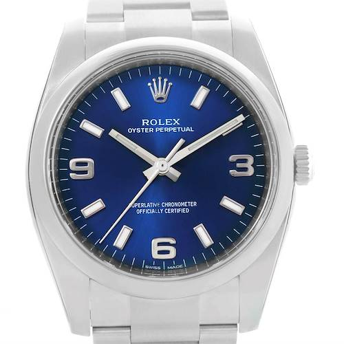Photo of Rolex Oyster Perpetual 34mm Blue Dial Steel Mens Watch 114200 Unworn