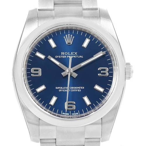 Photo of Rolex Oyster Perpetual 34 Blue Dial Oyster Bracelet Watch 114200 Unworn