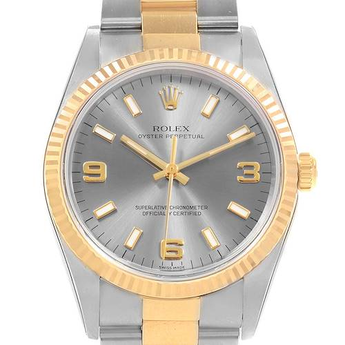 Photo of Rolex Oyster Perpetual NonDate Steel Yellow Gold Mens Watch 14233 Unworn