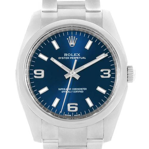 Photo of Rolex Oyster Perpetual 34mm Blue Dial Smooth Bezel Watch 114200 Unworn