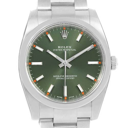 Photo of Rolex Oyster Perpetual 34 Olive Green Steel Unisex Watch 114200 Unworn