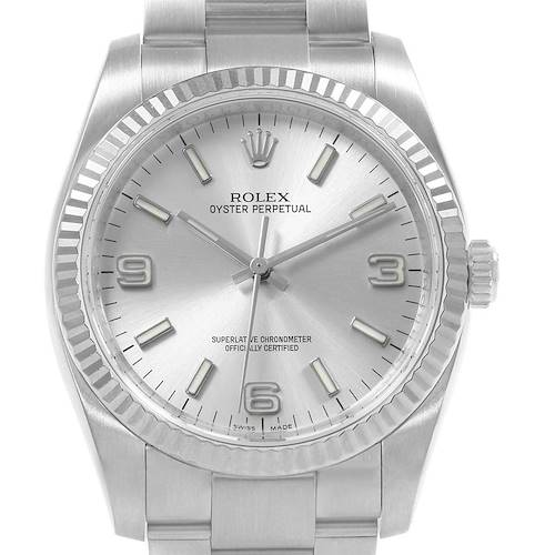 Photo of Rolex Oyster Perpetual Steel White Gold Silver Dial Mens Watch 116034