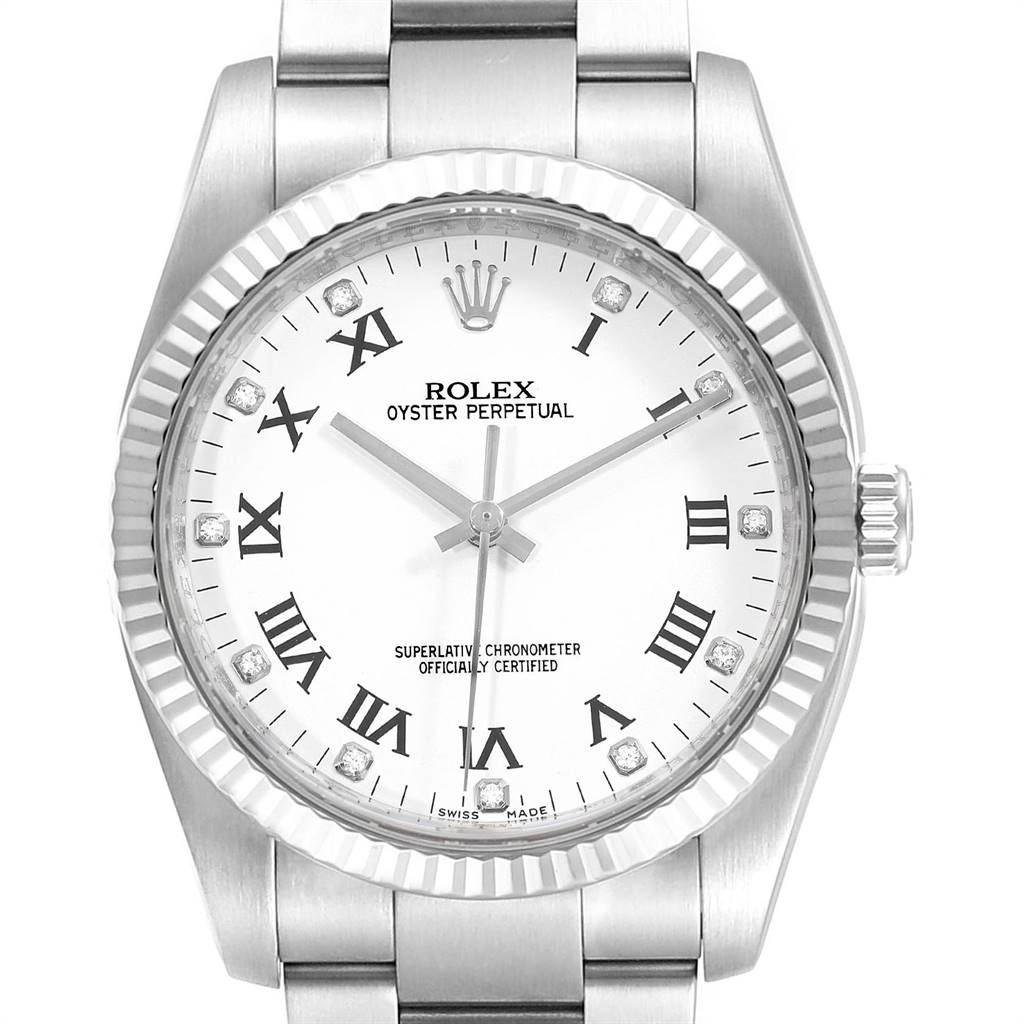 Rolex Oyster Perpetual 36 Steel White Gold Diamond Watch 116034 SwissWatchExpo