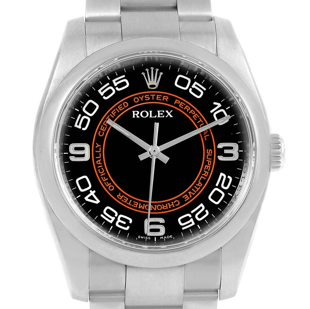 Rolex Oyster Perpetual Black Concentric Dial Watch 116000 Box Card