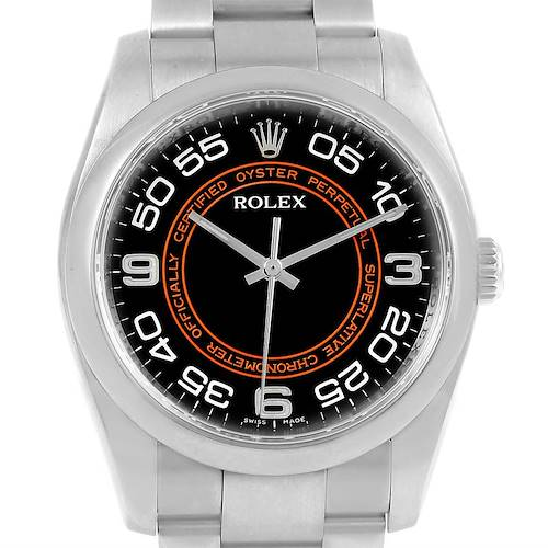 Photo of Rolex Oyster Perpetual Black Concentric Dial Watch 116000 Box Card