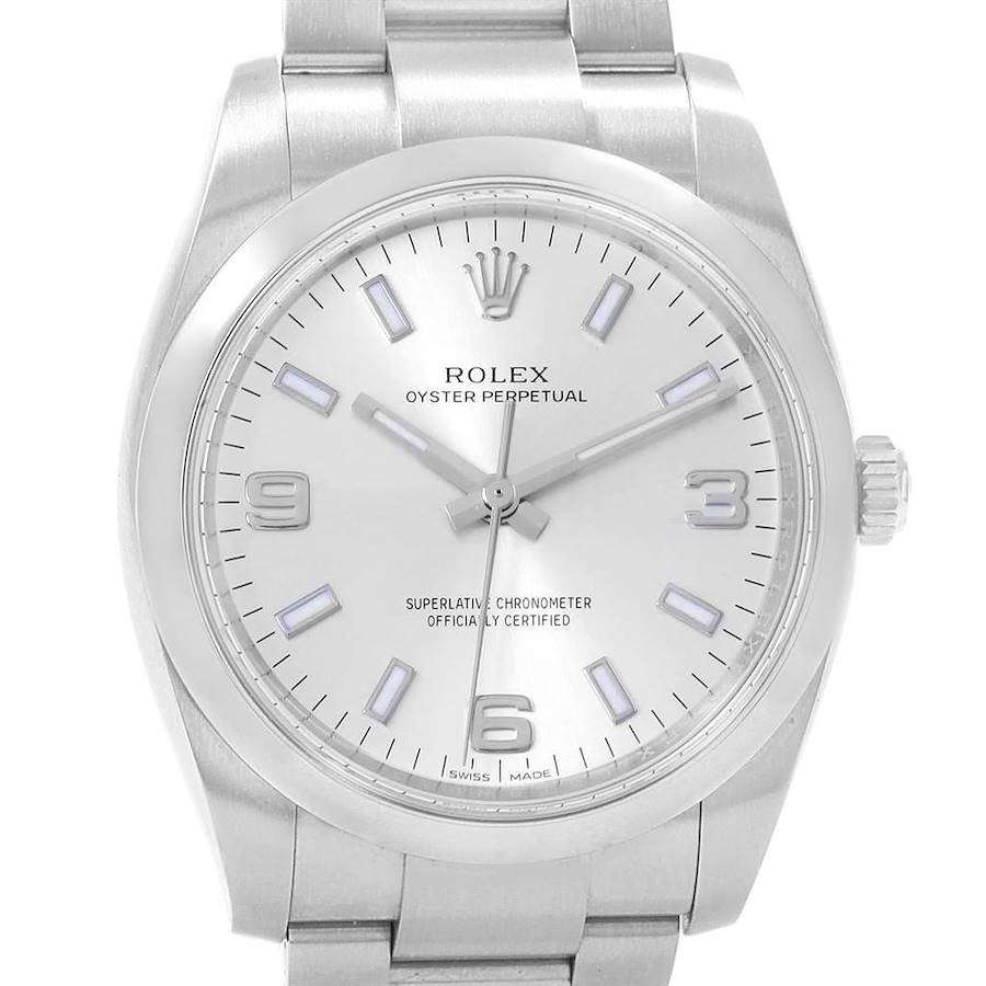 Rolex Air King 34 Silver Dial Mens Watch 114200 Box Papers SwissWatchExpo