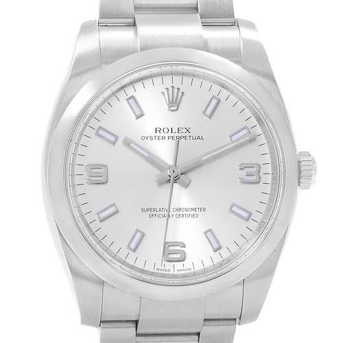 Photo of Rolex Air King 34 Silver Dial Mens Watch 114200 Box Papers