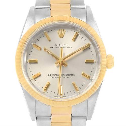 Photo of Rolex Oyster Perpetual Steel Yellow Gold Mens Watch 14233 Box Papers