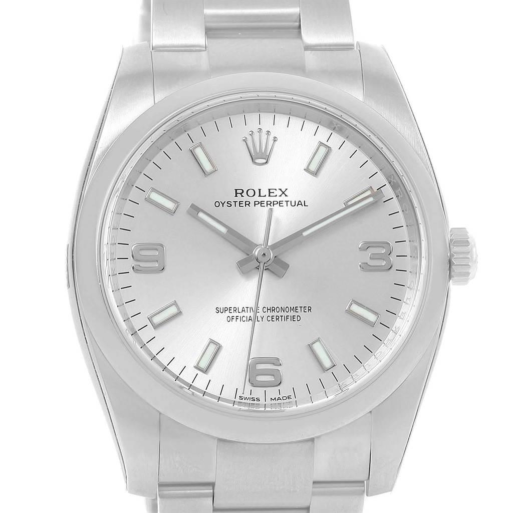 19522 Rolex Oyster Perpetual 34 Silver Dial Steel Mens Watch 114200 Unworn SwissWatchExpo