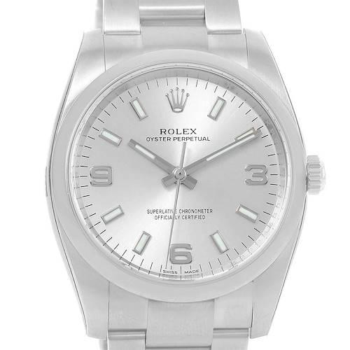 Photo of Rolex Oyster Perpetual 34 Silver Dial Steel Mens Watch 114200 Unworn