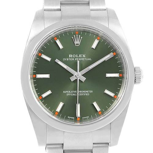 Photo of Rolex Oyster Perpetual 34mm Olive Green Steel Mens Watch 114200