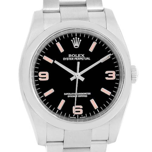 Photo of Rolex Oyster Perpetual 36 Pink Baton Hour Markers Mens Watch 116000
