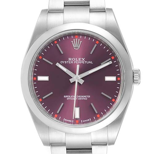 Photo of Rolex Oyster Perpetual 39 Red Grape Dial Steel Mens Watch 114300 Box