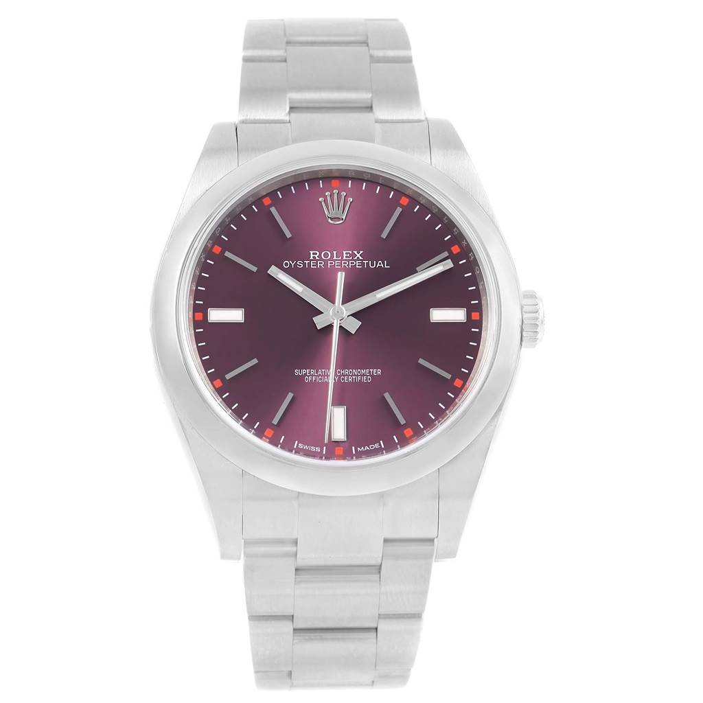 af2bf4e9f4cae ... 19804 Rolex Oyster Perpetual 39 Red Grape Dial Steel Mens Watch 114300  Box SwissWatchExpo ...