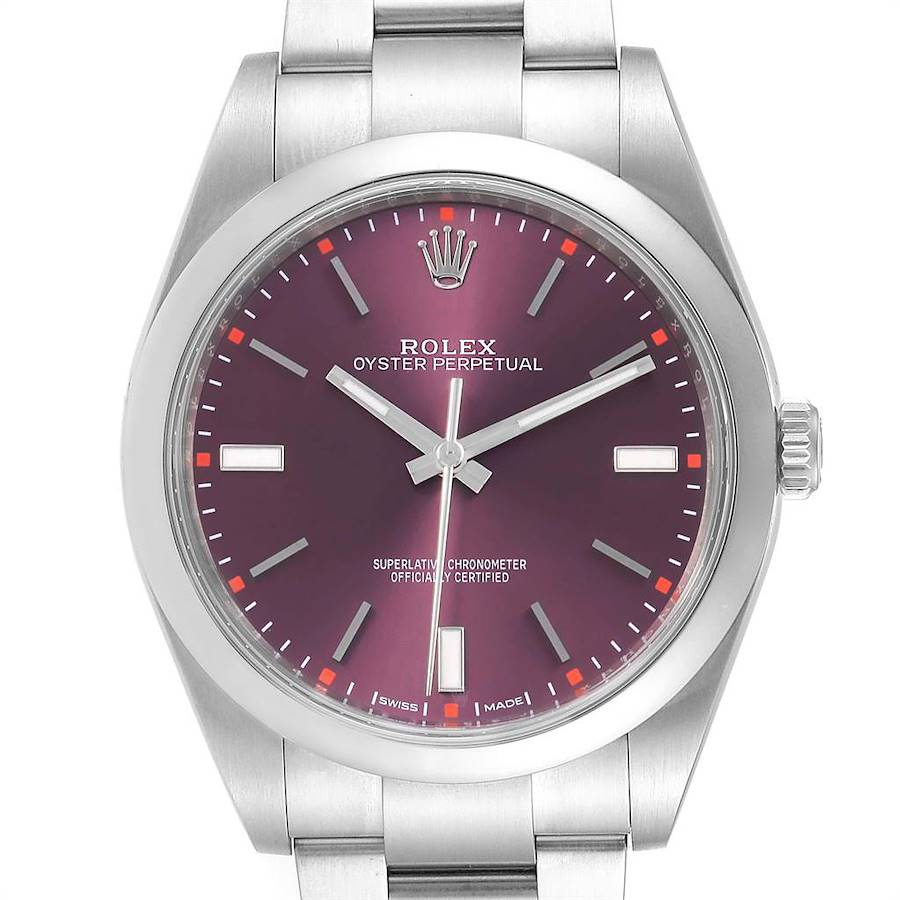 Rolex Oyster Perpetual 39 Red Grape Dial Steel Mens Watch 114300 Box SwissWatchExpo