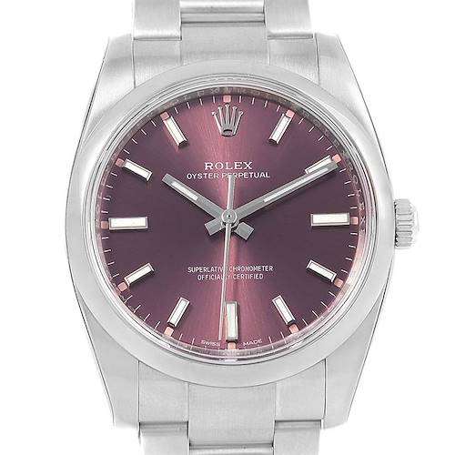 Photo of Rolex Oyster Perpetual 34 Red Grape Dial Steel Mens Watch 114200 Unworn