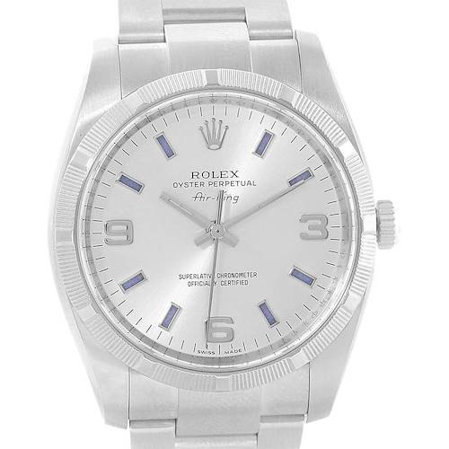 Photo of Rolex Oyster Perpetual Air King Silver Dial Blue Markers Watch 114210