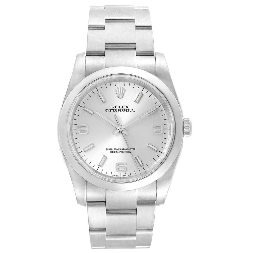 20529 Rolex Oyster Perpetual Silver Dial Steel Mens Watch 116000 Box Papers SwissWatchExpo