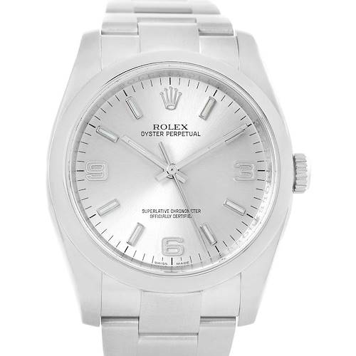 Photo of Rolex Oyster Perpetual Silver Dial Steel Mens Watch 116000 Box Papers