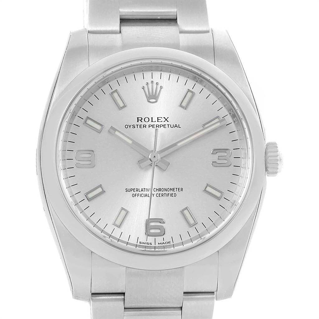 Rolex Oyster Perpetual Silver Dial Domed Bezel Mens Watch 114200 Unworn SwissWatchExpo