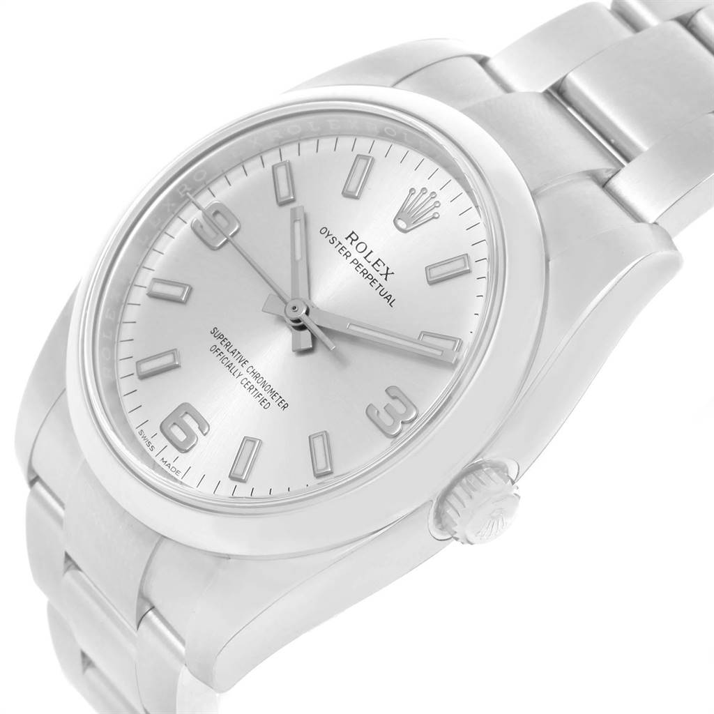 20651 Rolex Oyster Perpetual Silver Dial Domed Bezel Mens Watch 114200 Unworn SwissWatchExpo