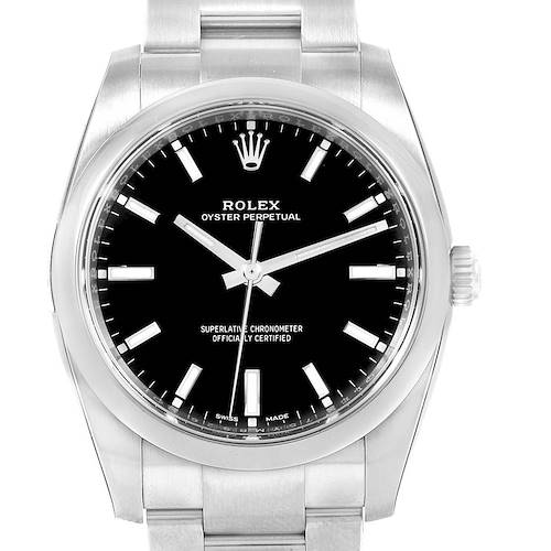 Photo of Rolex Oyster Perpetual Black Dial Domed Bezel Mens Watch 114200 Unworn