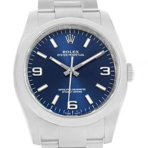 Photo of Rolex Oyster Perpetual Blue Dial Domed Bezel Mens Watch 116000