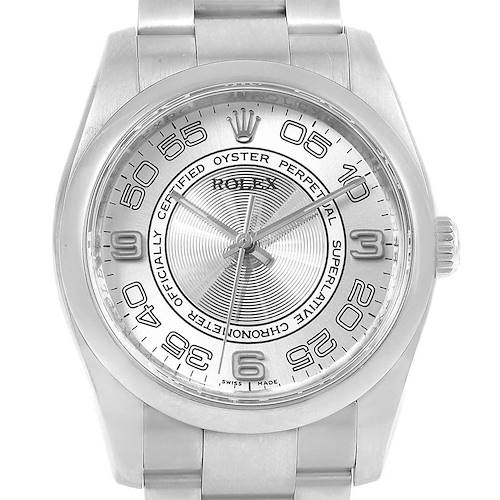Photo of Rolex Oyster Perpetual Silver Concentric Mens Watch 116000 Box Card