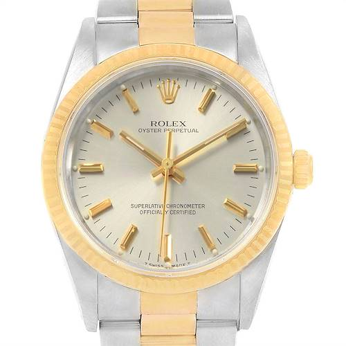 Photo of Rolex Oyster Perpetual Steel 18k Yellow Gold Mens Watch 14233 Box Papers