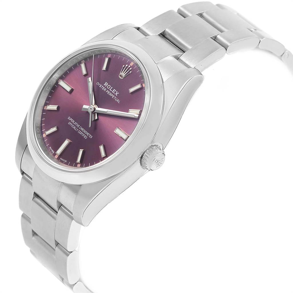 21701 Rolex Oyster Perpetual Red Grape Dial Steel unisex Watch 114200 Unworn SwissWatchExpo