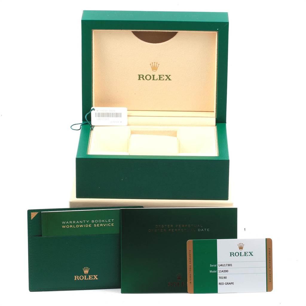 21701 Rolex Oyster Perpetual Red Grape Dial Steel unisex Watch 114200 Unworn SwissWatchExpo