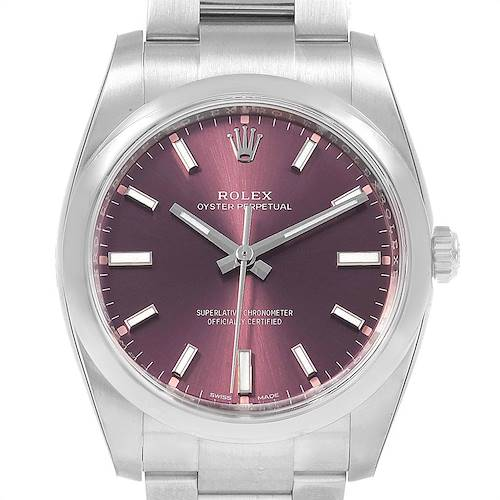 Photo of Rolex Oyster Perpetual Red Grape Dial Steel unisex Watch 114200 Unworn