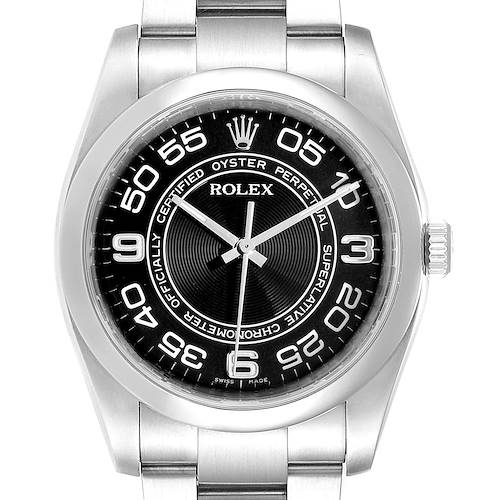 Photo of Rolex No Date Mens Black Concentric Dial Stainless Steel Watch 116000