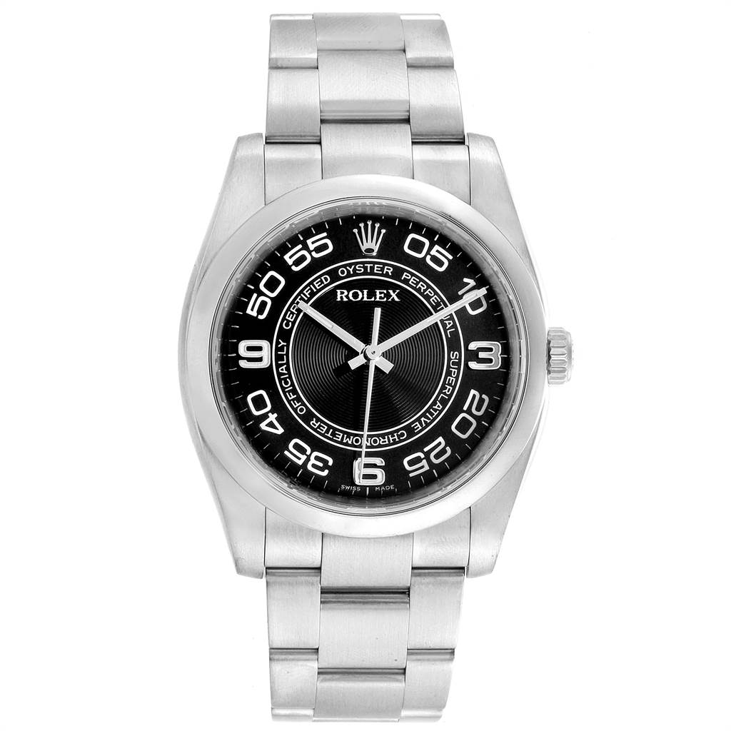 22688 Rolex No Date Mens Black Concentric Dial Stainless Steel Watch 116000 SwissWatchExpo