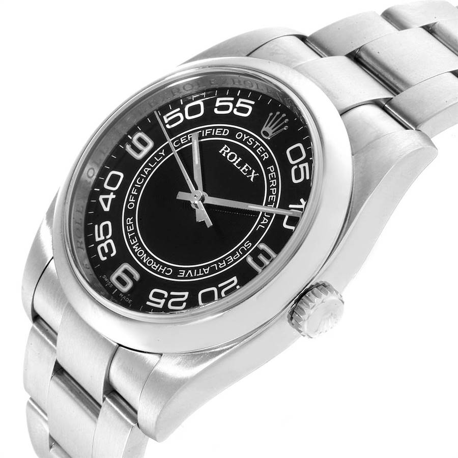 Rolex No Date Mens Black Concentric Dial Stainless Steel Watch 116000 SwissWatchExpo