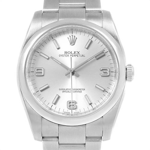 Photo of Rolex Oyster Perpetual 36mm Silver Dial Steel Mens Watch 116000