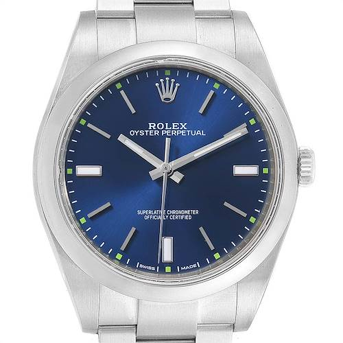 Photo of Rolex Oyster Perpetual 39 Blue Dial Steel Mens Watch 114300 Box Card
